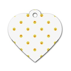 Happy Sun Motif Kids Seamless Pattern Dog Tag Heart (two Sides)