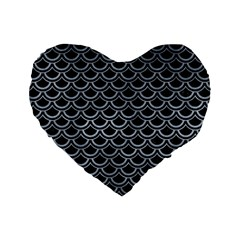 Scales2 Black Marble & Silver Paint (r) Standard 16  Premium Heart Shape Cushions