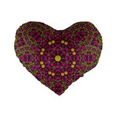 Butterflies  Roses In Gold Spreading Calm And Love Standard 16  Premium Heart Shape Cushions