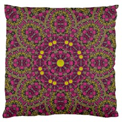 Butterflies  Roses In Gold Spreading Calm And Love Large Flano Cushion Case (two Sides)