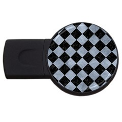 Square2 Black Marble & Silver Paint Usb Flash Drive Round (2 Gb)