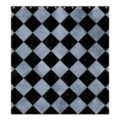 Square2 Black Marble & Silver Paint Shower Curtain 66  X 72  (large)