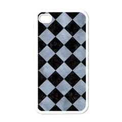 Square2 Black Marble & Silver Paint Apple Iphone 4 Case (white)