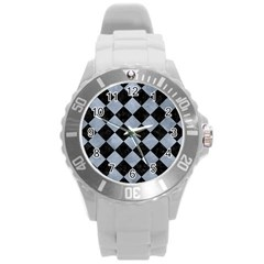 Square2 Black Marble & Silver Paint Round Plastic Sport Watch (l)