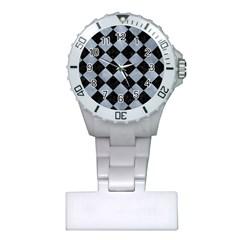 Square2 Black Marble & Silver Paint Plastic Nurses Watch
