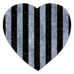 Stripes1 Black Marble & Silver Paint Jigsaw Puzzle (heart)