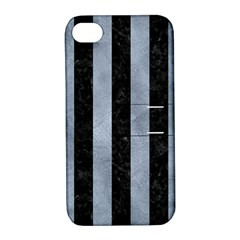 Stripes1 Black Marble & Silver Paint Apple Iphone 4/4s Hardshell Case With Stand