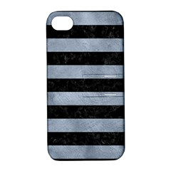 Stripes2 Black Marble & Silver Paint Apple Iphone 4/4s Hardshell Case With Stand