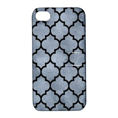 Tile1 Black Marble & Silver Paint Apple Iphone 4/4s Hardshell Case With Stand
