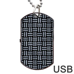 Woven1 Black Marble & Silver Paint (r) Dog Tag Usb Flash (two Sides)