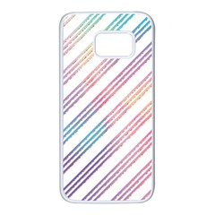 Colored Candy Striped Samsung Galaxy S7 White Seamless Case
