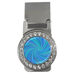 Blue Background Spiral Swirl Money Clips (cz)