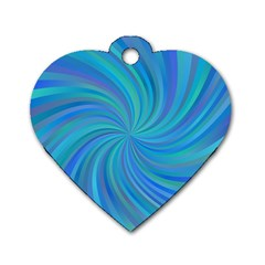 Blue Background Spiral Swirl Dog Tag Heart (two Sides)