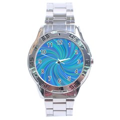 Blue Background Spiral Swirl Stainless Steel Analogue Watch