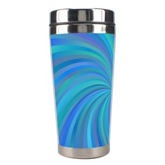 Blue Background Spiral Swirl Stainless Steel Travel Tumblers