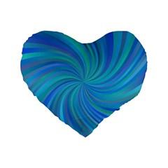 Blue Background Spiral Swirl Standard 16  Premium Flano Heart Shape Cushions