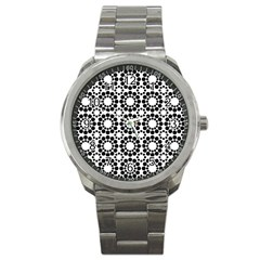 Black White Pattern Seamless Monochrome Sport Metal Watch