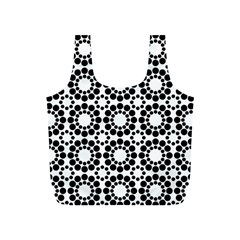 Black White Pattern Seamless Monochrome Full Print Recycle Bags (s)