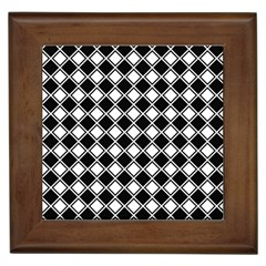 Black White Square Diagonal Pattern Seamless Framed Tiles