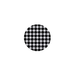 Black White Square Diagonal Pattern Seamless 1  Mini Buttons