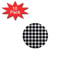 Black White Square Diagonal Pattern Seamless 1  Mini Magnet (10 Pack)