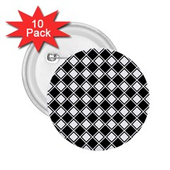 Black White Square Diagonal Pattern Seamless 2 25  Buttons (10 Pack)