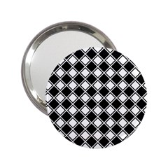 Black White Square Diagonal Pattern Seamless 2 25  Handbag Mirrors