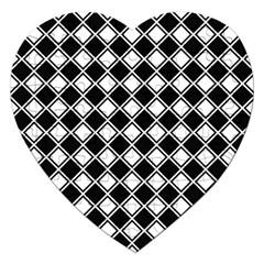 Black White Square Diagonal Pattern Seamless Jigsaw Puzzle (heart)