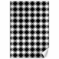 Black White Square Diagonal Pattern Seamless Canvas 12  X 18