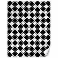Black White Square Diagonal Pattern Seamless Canvas 18  X 24