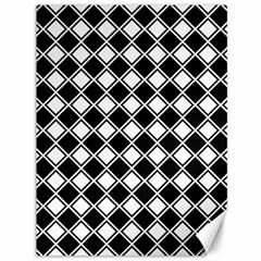 Black White Square Diagonal Pattern Seamless Canvas 36  X 48