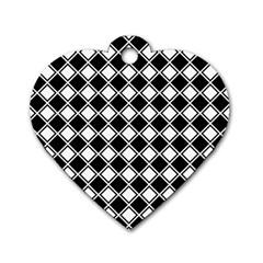 Black White Square Diagonal Pattern Seamless Dog Tag Heart (two Sides)