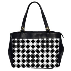 Black White Square Diagonal Pattern Seamless Office Handbags (2 Sides)