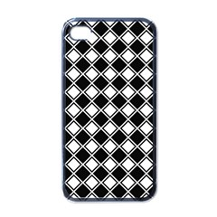 Black White Square Diagonal Pattern Seamless Apple Iphone 4 Case (black)