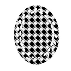 Black White Square Diagonal Pattern Seamless Ornament (oval Filigree)