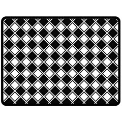Black White Square Diagonal Pattern Seamless Double Sided Fleece Blanket (large)