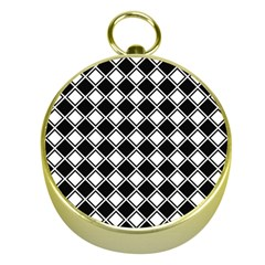 Black White Square Diagonal Pattern Seamless Gold Compasses
