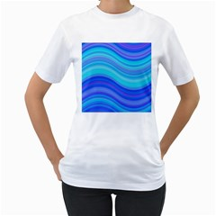 Blue Background Water Design Wave Women s T Shirt (white) (two Sided)