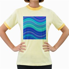 Blue Background Water Design Wave Women s Fitted Ringer T Shirts