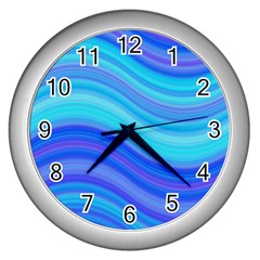Blue Background Water Design Wave Wall Clocks (silver)