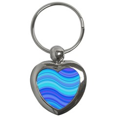 Blue Background Water Design Wave Key Chains (heart)