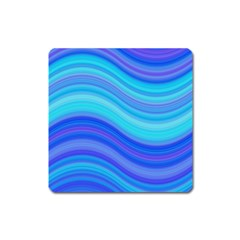 Blue Background Water Design Wave Square Magnet