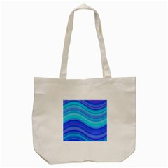Blue Background Water Design Wave Tote Bag (cream)