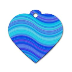 Blue Background Water Design Wave Dog Tag Heart (two Sides)