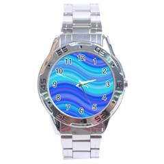 Blue Background Water Design Wave Stainless Steel Analogue Watch