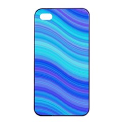 Blue Background Water Design Wave Apple Iphone 4/4s Seamless Case (black)