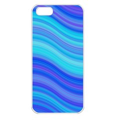 Blue Background Water Design Wave Apple Iphone 5 Seamless Case (white)