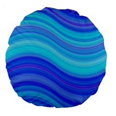 Blue Background Water Design Wave Large 18  Premium Round Cushions