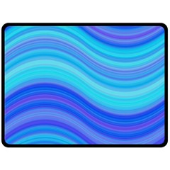 Blue Background Water Design Wave Double Sided Fleece Blanket (large)
