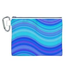 Blue Background Water Design Wave Canvas Cosmetic Bag (l)